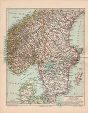 Antique map. SWEDEN & NORWAY. SOUTHERN PART. c 1895