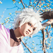 Killua Zoldyck 30cm Short Layered Men Lady Silver White Anime Cosplay Hair Wig