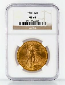 1910 Gold St. Gaudens Double Eagle Graded by NGC as MS-62