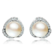 Women Jewelry Elegant 925 Sterling Silver Crystal Ear Stud Cute Pearl Earrings