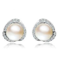 Crystal Ear Stud Cute Pearl Earrings Women Jewelry Elegant 925 Sterling Silver