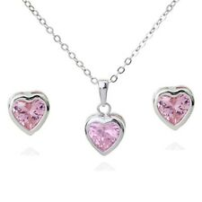 18K WHITE G/ P GENUINE PINK CUBIC ZIRCONIA HEART NECKLACE AND EARRING SET