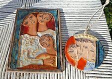 2 MID CENTURY RUTH FAKTOR CERAMIC TILE POTTERY ART ruth factor Israel