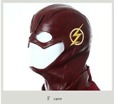 Full Head Red Leather The Flash Cosplay Mask Helmet Masque Party Halloween Adult