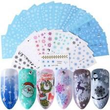 30 Sheets Christmas Snowflake Nail Stickers Winter Nail Art Decals Decoration UK