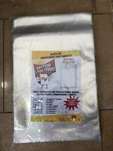100 BUSTE di PROTEZIONE con PATELLA e BANDA ADESIVA per FUMETTI 240X325 mm