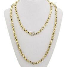 """Men's 10k Two Tone Gold Handmade Fashion Link Necklace 34"""" 5mm 64grams"""