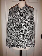10 Talbots Wrinkle Resistant Black & Beige Animal Print Cotton LS Shirt