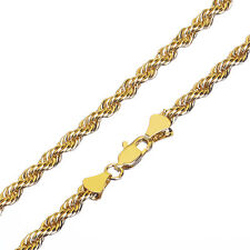 """Fashion Hip Hop 14K Yellow Gold Plated Thin Short 4 mm Rope Chain Necklace 20"""""""