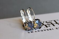 Silver Plated Light Grey Opal Leverback Earrings with Swarovski Crystal Element