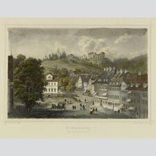 Eisenach. Der Marktplatz. Kolorierter Stahlstich 1863.