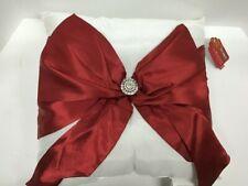 Pier 1 Imports Decorative White Pillow w/ Red Bow & Rhinestone Center