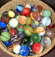 Vintage And Antique Marbles ,Peltier, Akro Agate, Uranium Glowies, Lot Of 20