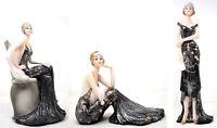 Broadway Belles Black Sparkle Dress Gift Ornament Lady Statue Figurine Art Deco