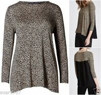 New Ex M&S Black Beige Pleat Back 3/4 Sleeve Jersey Casual Summer Top Size 14-24