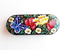 Butterflies strawberries bright hand painted glasses case russian eyeglass case