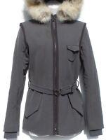 PRADA Sport Gray Green Slate Nylon Dyed Fox Fur Trim Hood Zip Jacket Coat IT 40