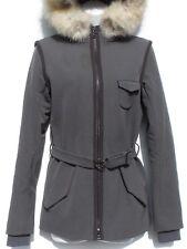 0ae73a6c0b PRADA Sport Gray Green Slate Nylon Dyed Fox Fur Trim Hood Zip Jacket Coat  IT 40