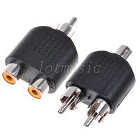 1 Male To 2 Female RCA AV 1 Female to 2 Male Y Splitter Adapter Connector