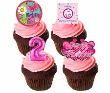 2nd Birthday Girl Edible Cupcake Toppers,  Pink Stand-up Fairy Cake Decorations