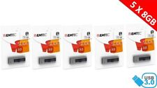 LOT DE 5 CLES USB 3.0  8 GO  EMTEC B250 Slide USB 3.0