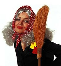 Ladies Grey Granny Wig with Headscarf Old Lady Mother Hubbard Witch