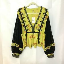 Free People Boogie All Night Chartreuse Printed Blouse Large NWT