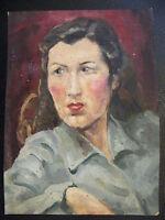 Gouache sur Papier Portrait de Femme André Simon (1926-2014)  Artiste Lorrain
