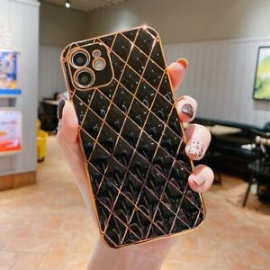 For iPhone 12 11 Pro XS max Luxury Cute Gold Bling Plating Silicone Phone Case