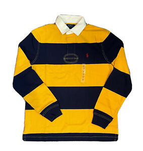 NWT Polo Ralph Lauren Men's Iconic Striped Long Sleeve Rugby Shirt Yellow Navy