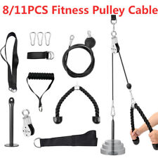 Fitness Pulley Cable Gym Workout Equipment Machine Attachment System DIY 8/11Pcs