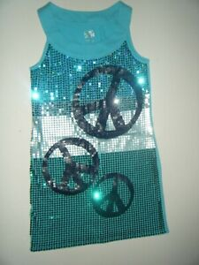 EUC GIRL'S JUSTICE SLEEVELESS DRESS PEACE SIGN  SEQUINS Size 16
