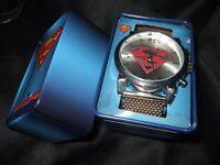 New Men's Superman Chain Mesh Band Watch & Collector Tin Man Of Steel DC Comics