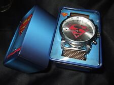 New Men's Superman Chain Mesh Band Watch & Collector Tin Man Of Steel DC Comics