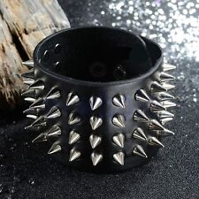 Punk Leather Black 4 Row Rivet Spike Stud Gothic Rock Bracelet Cuff Bangle HM