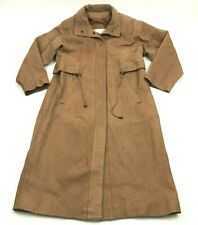 VINTAGE Architect Mens Leather Trench Coat Size S Small Snap Button YOUNG GUNS