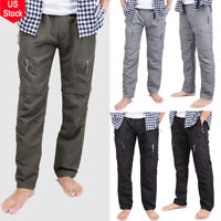 Mens Zip Off Convertible Pants Shorts Outdoor Pants Hiking Fishing Work Trousers