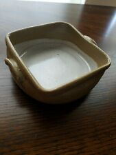 Vintage square Stoneware Small Bowl  Pottery Folk Art