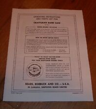 SEARS CRAFTSMAN 12 INCH BAND SAW OWNERS MANUAL 103.24260 24260