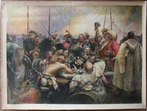 "48"" Repro of Repin - Cossacks of Ukraine Writing a Letter to the Turkish Sultan"