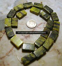 "15"" Yellow turquoise (jasper) 11/16 flat brick beads apprx 22pcs 18x11x5mm bs073"