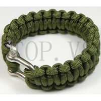 Paracord 550 Bracelets Buckle Camping Survival Gear Tool Camping Metal shackle B
