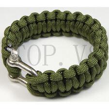 550 Paracord Parachute Cord Military Survival Bracelet Camping Metal shackle #2