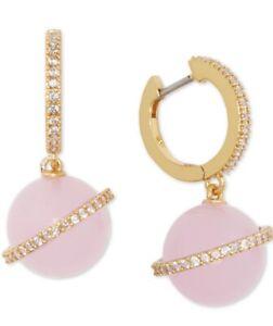 """$78 Kate Spade ON THR ROCKS crystal & bead  huggie hoop 1"""" earrings P23"""
