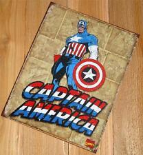 Captain America Comic Super Hero USA Flag Costume Boomerang Shield Metal Sign