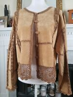 Brown Suede Crochet Trim Jacket L