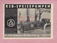 FRANKENTHAL, Werbung 1936, Klein, Schanzlin & Becker AG KSB Speise-Pumpen