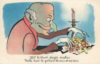 1900's VINTAGE OLD MAN SCROOGE COUNTING his MONEY by CANDLELIGHT FRENCH POSTCARD