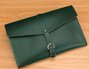 cow Leather file Folder pocket Messenger bag case Briefcase handmade green z618