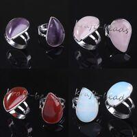 Silver Plated Amethyst Rose Quartz Teardrop Adjustable Stone Finger Ring Jewelry